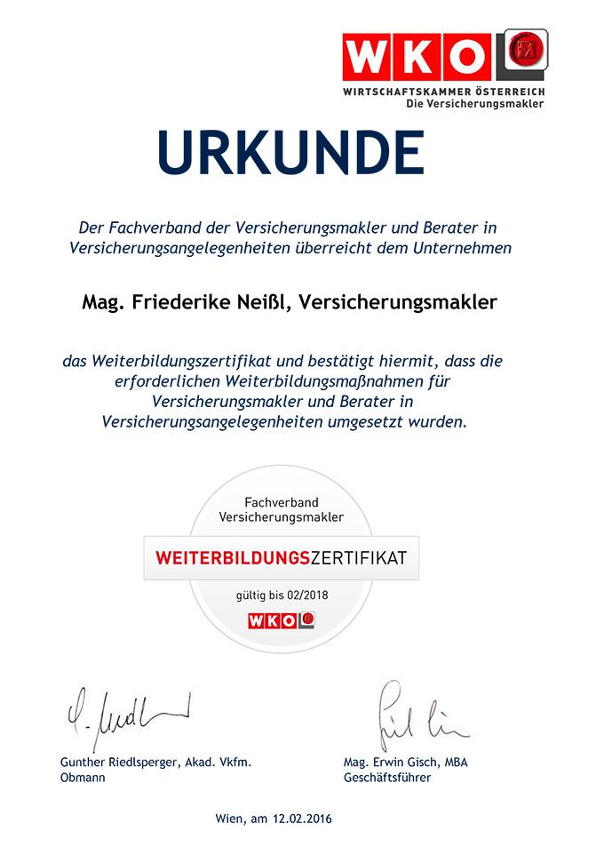 Mag. Friederike Neißl, Versicherungsmakler Weiterbildungszertifikat